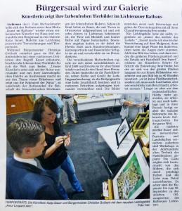"""PRESSEARTIKEL TIERZEICHNUNGEN UND TIERPORTRAITS VON KATJA SAUER – """"ACHER- UND BÜHLER BOTE – ABB"""", VOM MONTAG, 22.09.2014"""