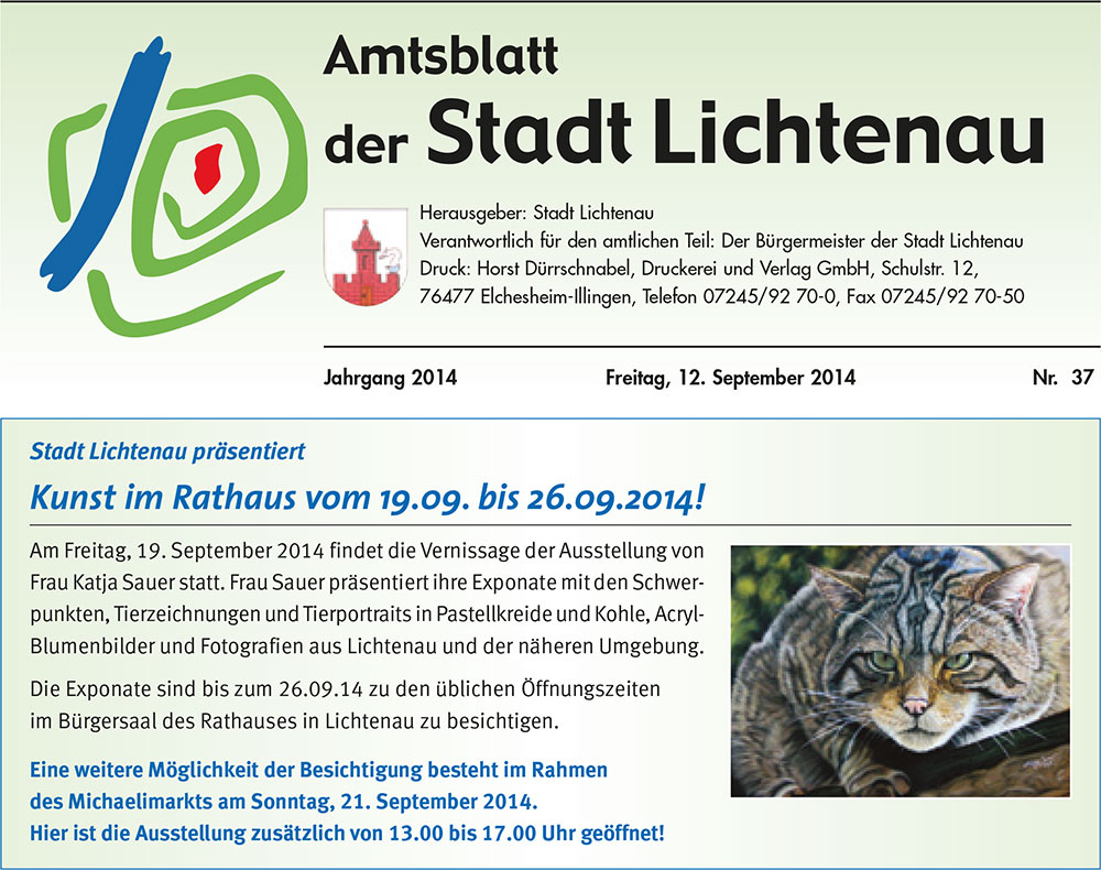 Exhibition animal paintings and animal portraits by Katja Sauer in Lichtenau