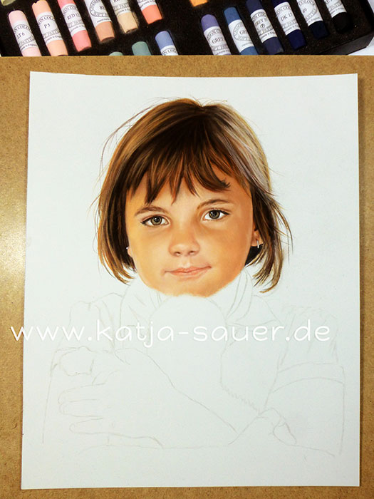 Child portrait in progress - portrait painting in soft pastels and charcoal by Katja Sauer