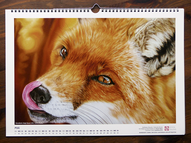 Pastel painting 'Fox' by Katja Sauer in Artina Art Calendar 2016