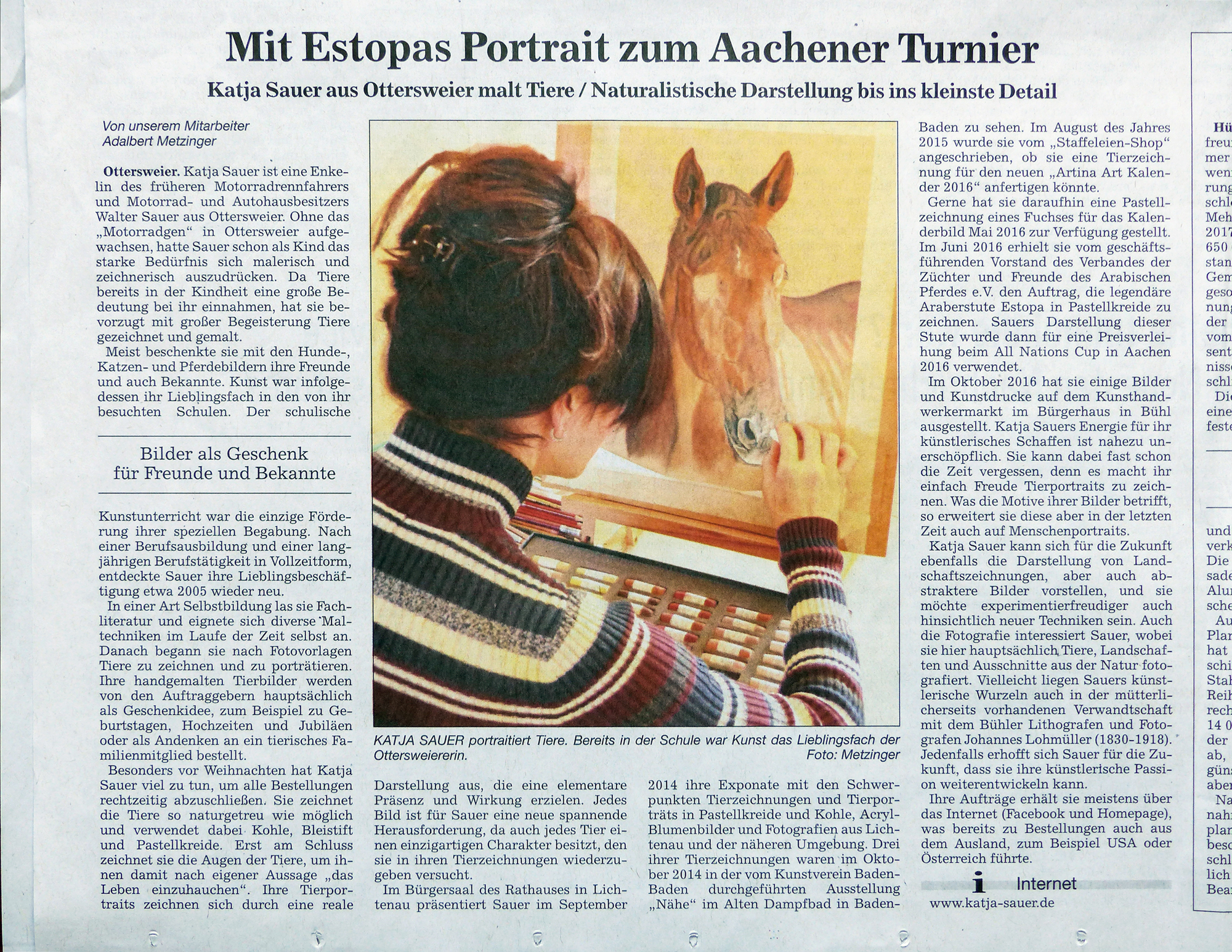 Article about my animal paintings and animal portraits in the paper 'Acher- und Buehler Bote ABB'