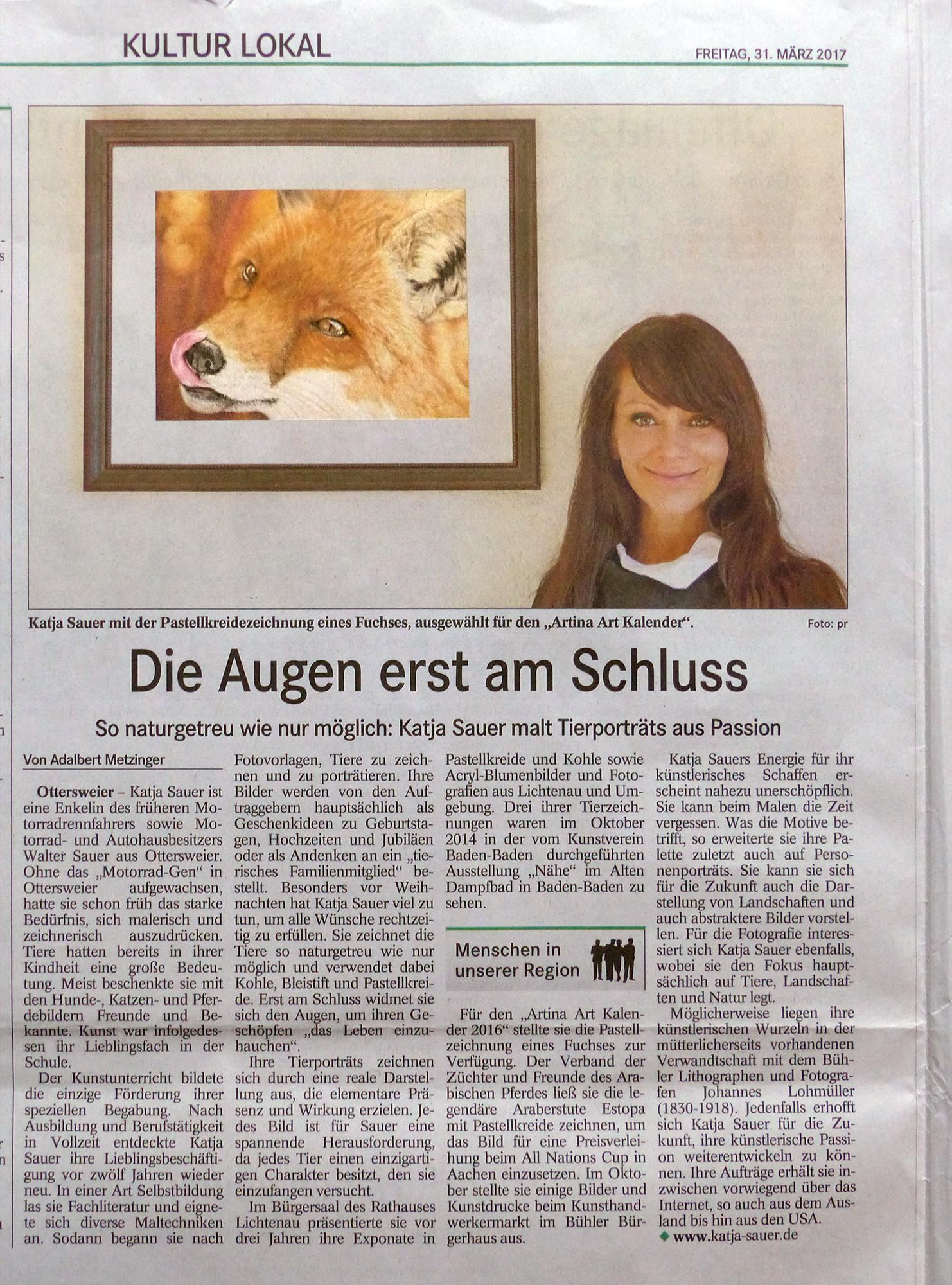 Presseartikel Badisches Tagblatt BT - Tierzeichnungen und Tierportraits von Katja Sauer