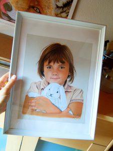 Kinderbild in Pastellkreide von Katja Sauer