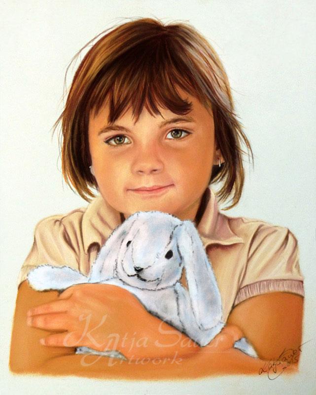 Kinderportrait in Pastellkreide von Katja Sauer (24 cm x 30 cm)