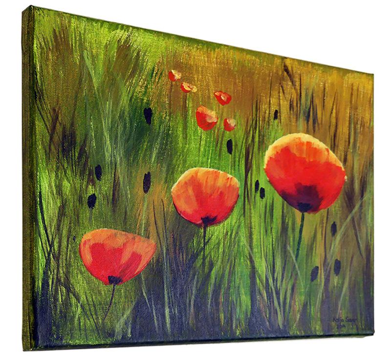 Mohnblumen von Katja Sauer - Acryl auf Keilrahmen (30 cm x 40 cm)