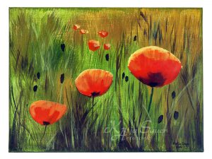 Acrylmalerei Mohnblumen von Katja Sauer