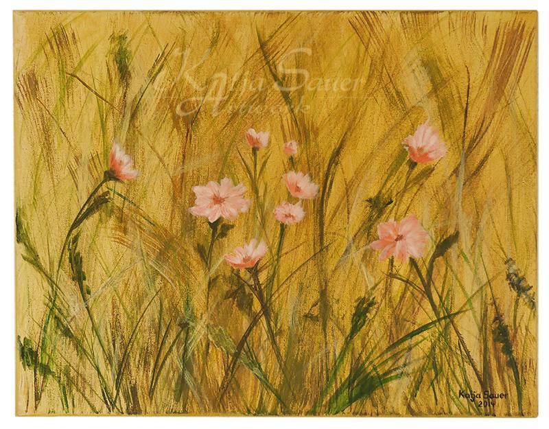 Sommerfeld von Katja Sauer - Acryl auf Keilrahmen (40 cm x 50 cm)