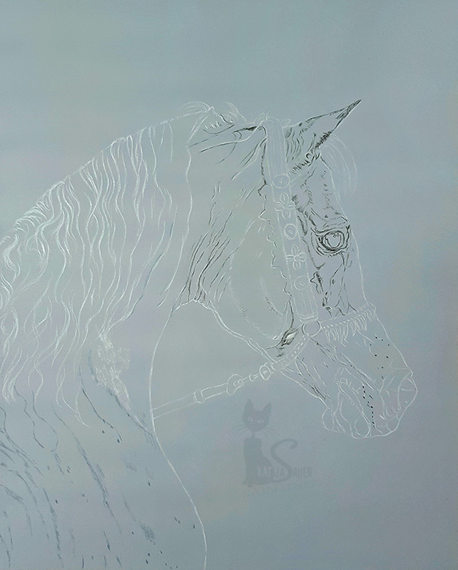 Arabian stallion ANSATA HEJAZI (Ansata Halim Shah x Ansata Sudarra) in pastels (40 cm x 50 cm)