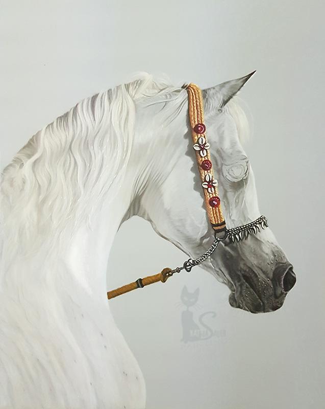Araberhengst ANSATA HEJAZI (Ansata Halim Shah x Ansata Sudarra) in Pastellkreide (40 cm x 50 cm)