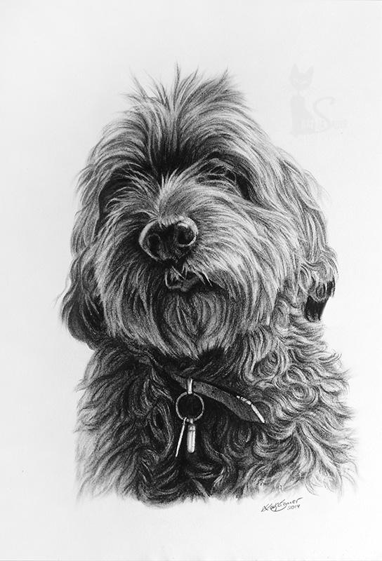 Mischlingshund MAX in Kohle und Graphit (30 cm x 40 cm)