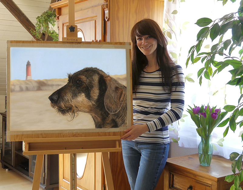 Dachshund ELIOT in pastels 50 cm x 70 cm - Animal drawings and animal portraits by Katja Sauer