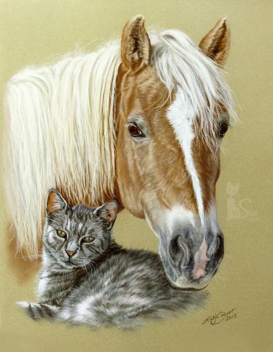 Tierzeichnungen und Pferdeportraits in Pastellkreide - Collage PFERD und KATZE (30cm x 40 cm)