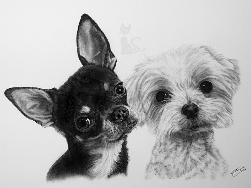 Hund DOBBI und IDEFIX - Collage in Kohle und Graphit (30 cm x 40 cm)