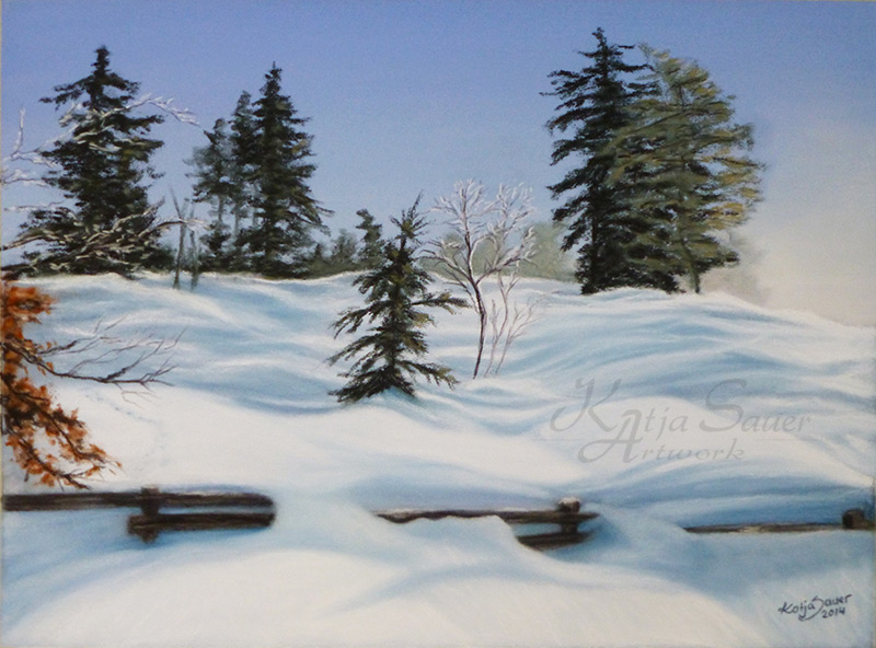Winterlandschaft Schliffkopf in Pastellkreide von Katja Sauer
