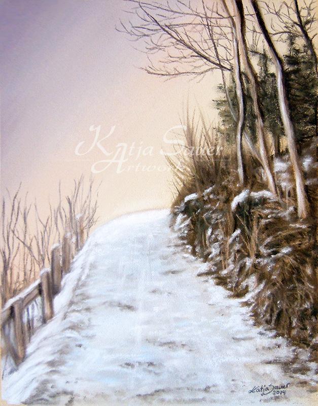Winterweg_Pastellkreide_Katja_Sauer
