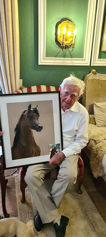 Pferdeportraitzeichnung Araberhengst NK Nabhan mit Dr Hans-Joachim Nagel