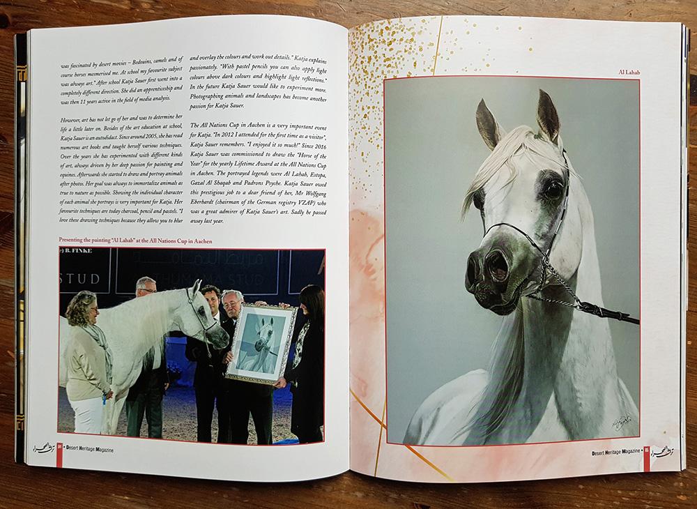 Gezeichnete Pferdebilder von Katja Sauer in Magazin