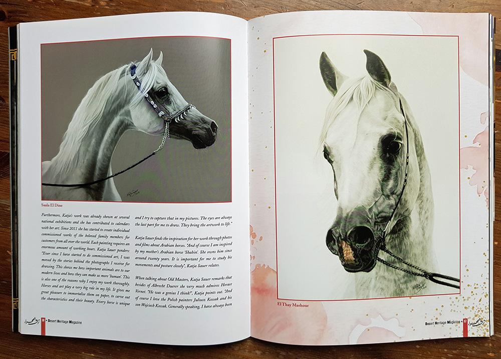 Pferdeportraits und gezeichnete Tiere von Katja Sauer in Zeitschrift
