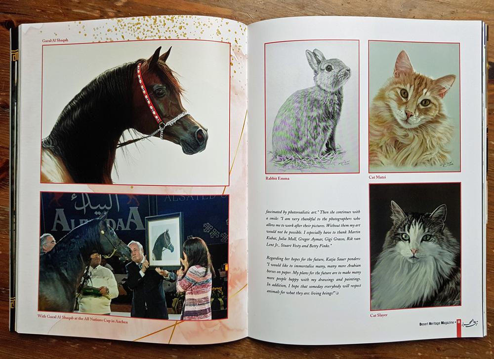 Gezeichnete Tierportraits von Katja Sauer in Magazin