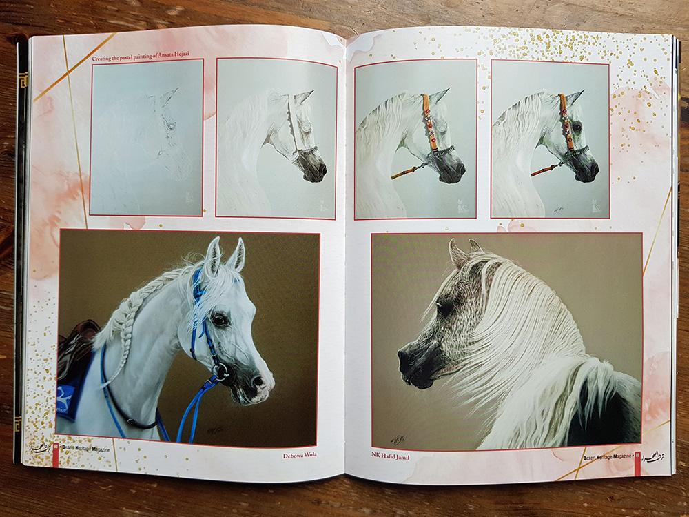 Gemalte Pferdeportraits von Katja Sauer in Zeitschrift