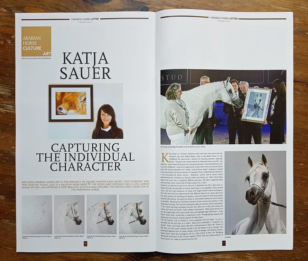 Tierzeichnungen und Pferdeportraits von Katja Sauer im Arabian Horse Letter